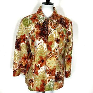 Chico's Cotton Jacket Size 2 Large Floral Print Fall Colors Zip Front